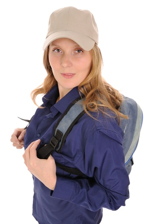 The woman with a backpack on a white