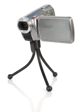 tiny lenses: Small video camera on a tripod Stock Photo