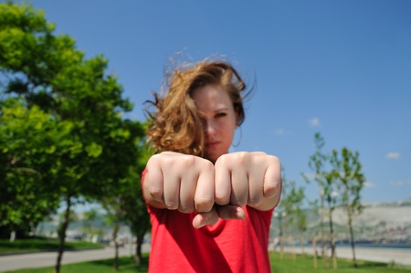 Girl with fists. choose a fist game.