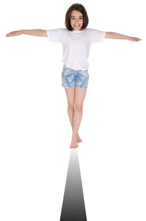 The girl balancing on a strip. On a white background.