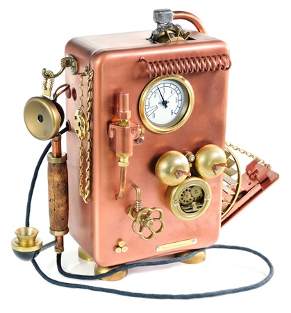 Phone on a white background. Style Steampunk.  photo