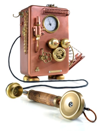 Phone on a white background. Style Steampunk.