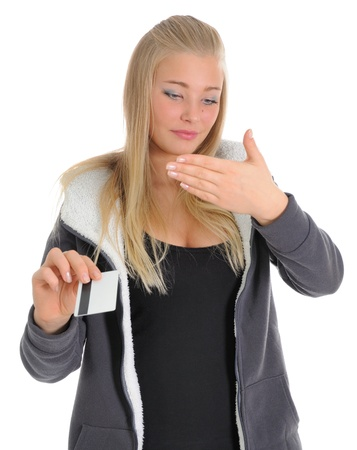pin entry: The girl reads the PIN code of the credit card which has been written down on a palm.