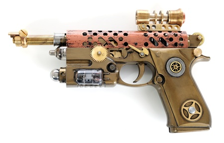 weaponry: Steampunk style future pistol. Handhome made gun.