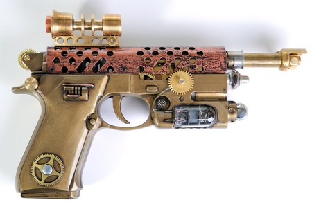 Steampunk style future pistol  Hand home made gun