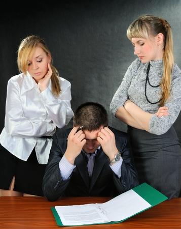 Businessman solutions the problem  On dark background