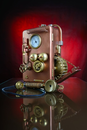 Phone on a red background  Style Steampunk   photo
