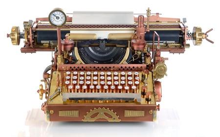 typewriter: Steampunk estilo m�quina de escribir en el futuro. Mano  caseros modelo.