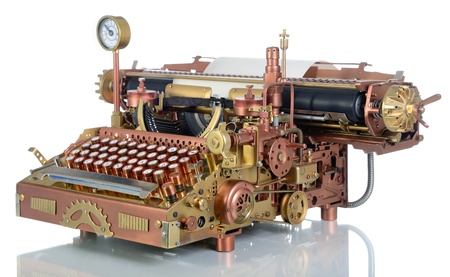 Steampunk style future Typewriter. Handhome made model.