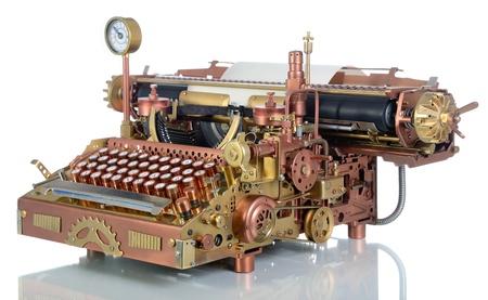 Steampunk style future Typewriter. Handhome made model.