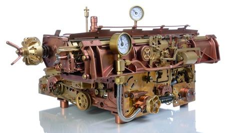 Steampunk style mechanism. Handhome made model Typewriter.