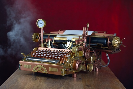 copy writing: Steampunk style future Typewriter. Handhome made model.