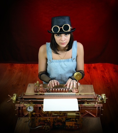 Girl and Steampunk style future Typewriter.  photo