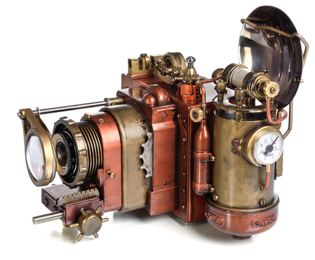 futurism: Photo camera on a white background. Style Steampunk.