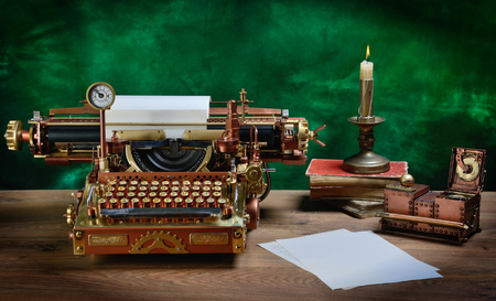 Steampunk style future Typewriter. Keyboard with the pre-revolutionary Russian typeface. (Till 1918) Handhome made model. Stock Photo