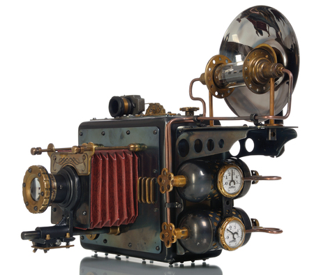 Photo camera on a white background. Style Steampunk.