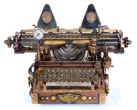 Steampunk style future Typewriter. Handhome made model. Russian pre-reform font. before 1918