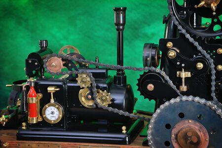 Model of a steam engine with chain transmission Reklamní fotografie - 134342253