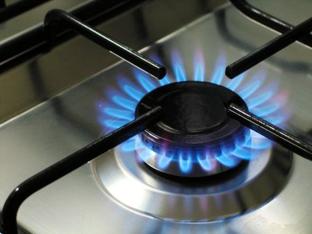 Blue Flame Cooking Gas Stove Stock Photo
