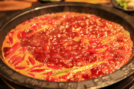 Red chili hot pot soup