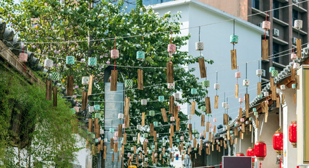 Wind chimes on the rope Stock Photo