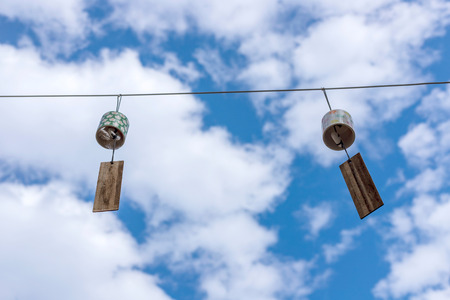 Hanging wind chimes Stock Photo