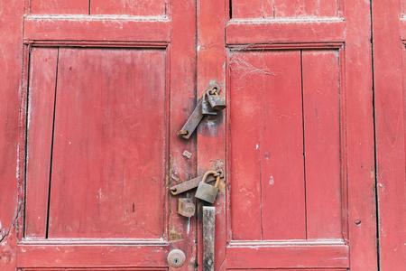 Red wooden door Imagens