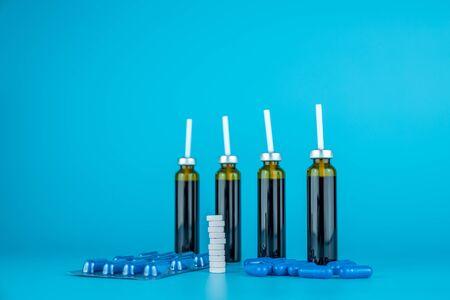 Oral liquid in bottle and medicine Stock Photo
