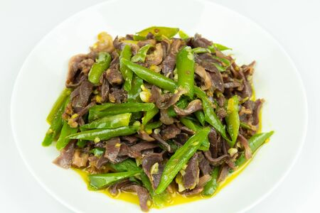 Fried goose gizzard with green pepper