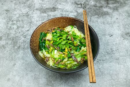 Noodle soup with goose gizzard Stock Photo