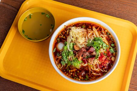 Red soup beef noodle Stock Photo