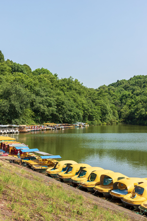 Boats moored by the lake
