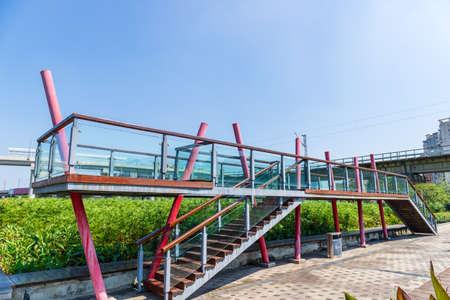 Glass bridge observation deck building in the park Banco de Imagens