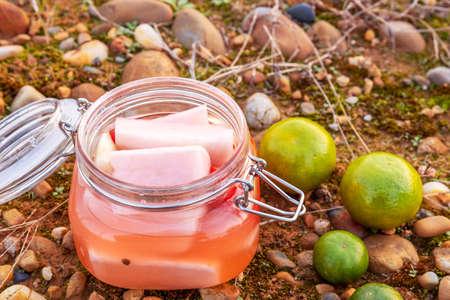 White radish in a glass jar