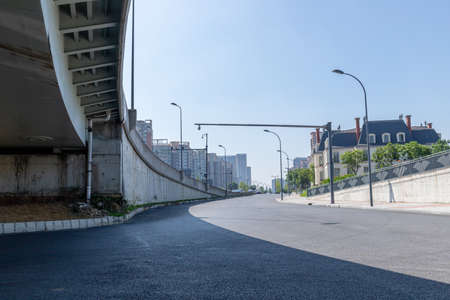 Asphalt road surface of Sanhuan Road, Chengdu, Sichuan, China