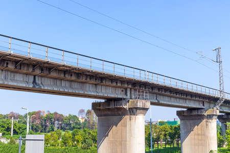Railway Bridge at the Blue Sky Interchange in Chengdu, Sichuan Province, China Banco de Imagens
