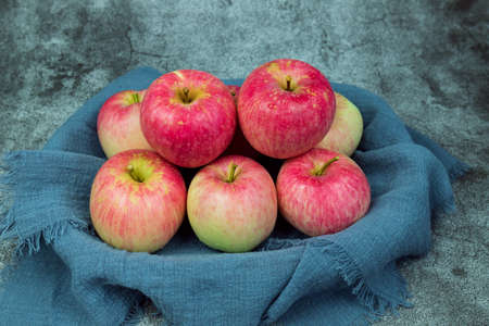 Fresh red Fuji apples in the fruit basket