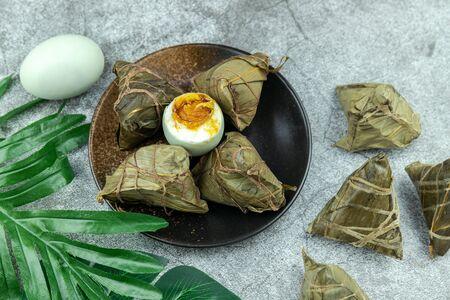 Dragon Boat Festival Salted Duck Eggs and Zongzi Stockfoto