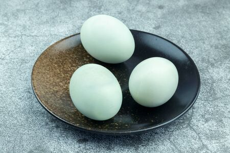 Salted duck eggs on the plate