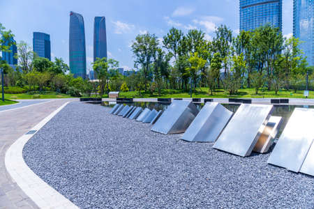 The architectural scenery of Chengdu Jiaozi Park and Financial City