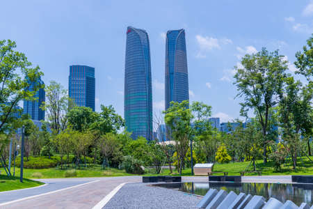 Scenery of Jiaozi Park in Chengdu and Architecture of Financial City