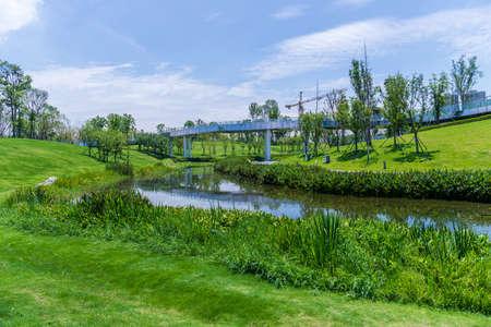 Ecological landscape of Chengdu Jiaozi Park Banco de Imagens