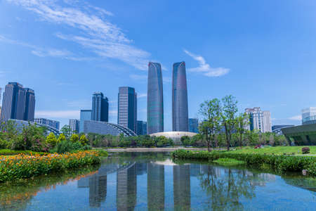 Chengdu Jiaozi Park Lake View and Financial City Architecture Banco de Imagens - 151081527