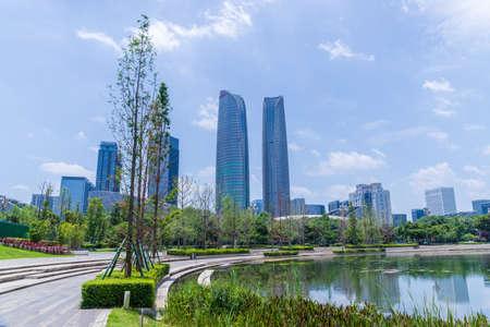 Chengdu Jiaozi Park Lake View and Financial City Architecture
