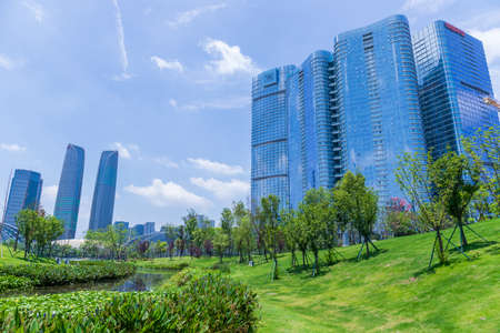 Chengdu Jiaozi Park lawn and financial city architectural scenery