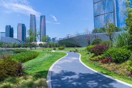 Asphalt road in Chengdu Jiaozi Park Editorial