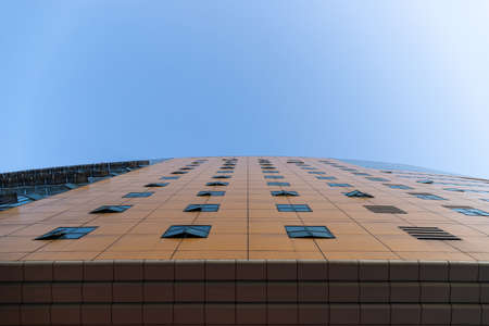 Looking up on the building curtain wall