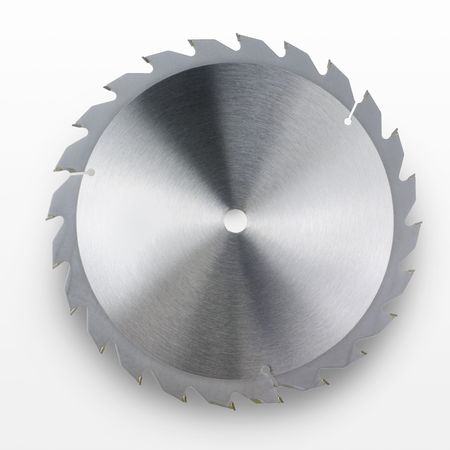 Circular saw blade on a white background