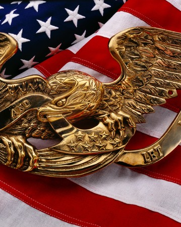 American flag with gold eagle symbol on top photo
