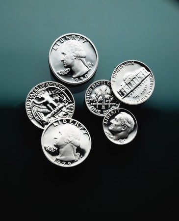 close quarters: United States coins close up- Quarters, dimes and nickel